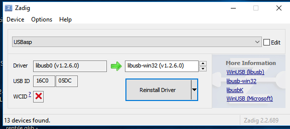 Install usbasp driver windows 10